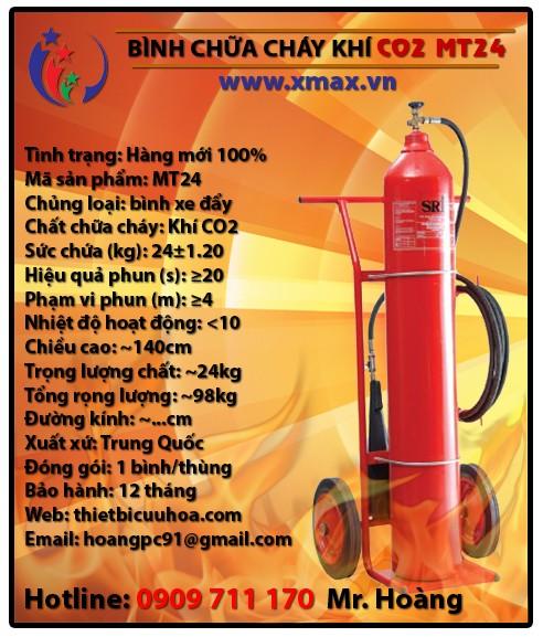 Bình chữa cháy khí 24kg có xe đẩy hay còn gọi là bình cứu hỏa CO2 MT24 chuyên dùng chữa cháy không gian lớn 1