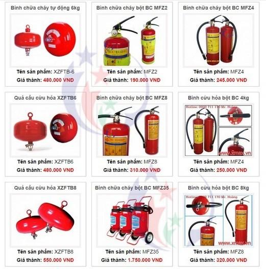 Giá bán các loại bình chữa cháy cứu hỏa cùng các thiết bị hệ thống phòng cháy chữa cháy phân phối tại TPHCM 1