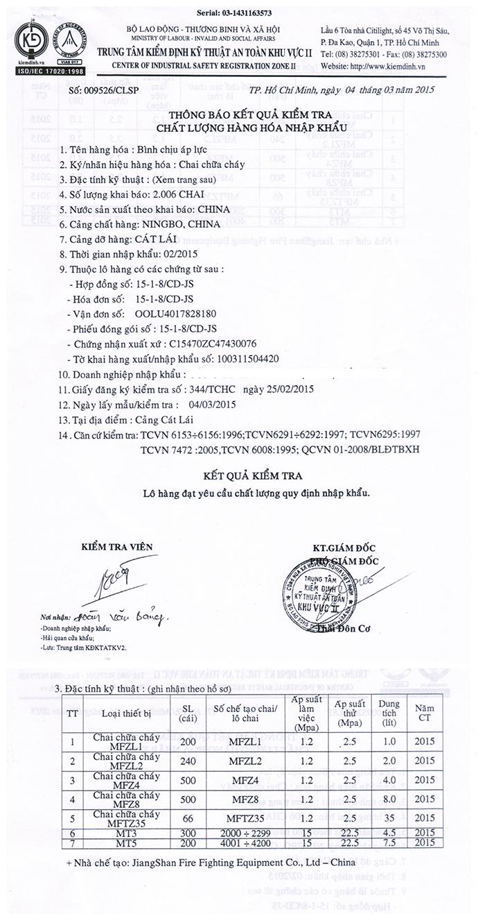 Chứng chỉ tem kiểm định bình chữa cháy COCQ theo quy định PCCC 3