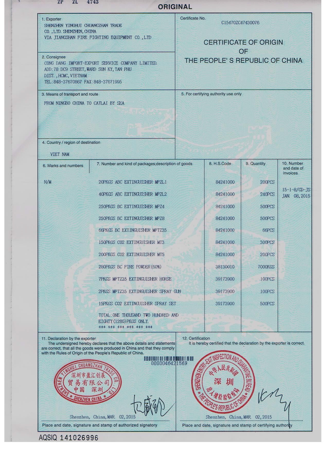 Chứng chỉ tem kiểm định bình chữa cháy COCQ theo quy định PCCC 1