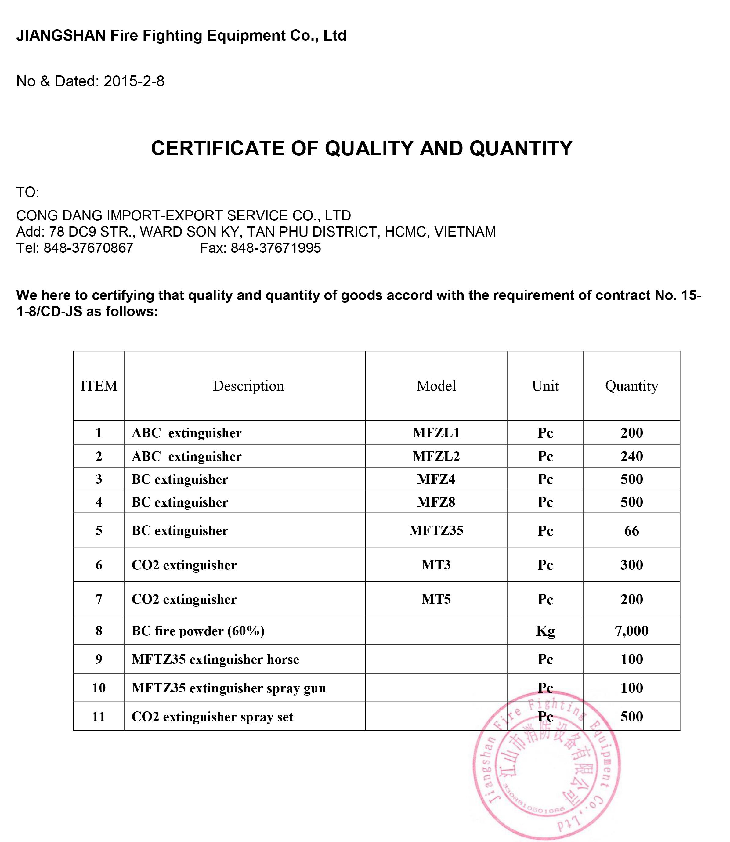 Chứng chỉ tem kiểm định bình chữa cháy COCQ theo quy định PCCC 2